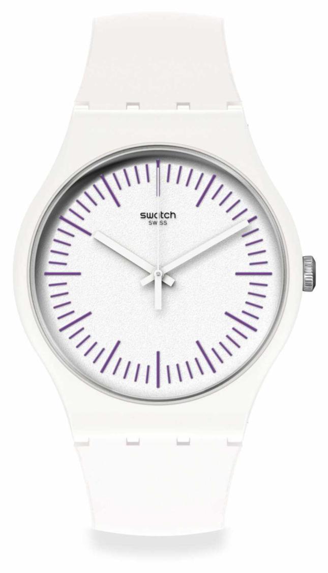 Swatch WHITENPURPLE | White & Purple Silicone Strap | White Dial | Purple Markers SUOW173