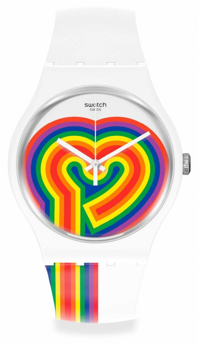Swatch BEATING LOVE | Valentines Day | White Silicone Strap | Rainbow Heart Dial SUOW171