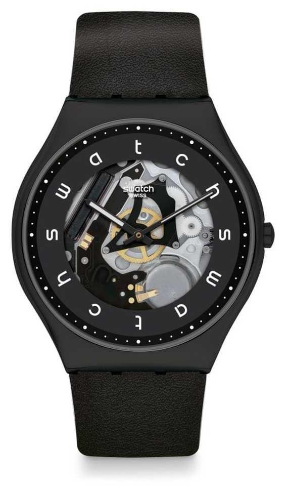 Swatch WHITE SIDE   Black Leather Strap   Black Skeleton Dial SS07B101