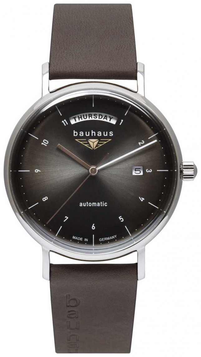 Bauhaus Men's Black Italian Leather Strap | Black Dial | Automatic | Day/Date 2162-2