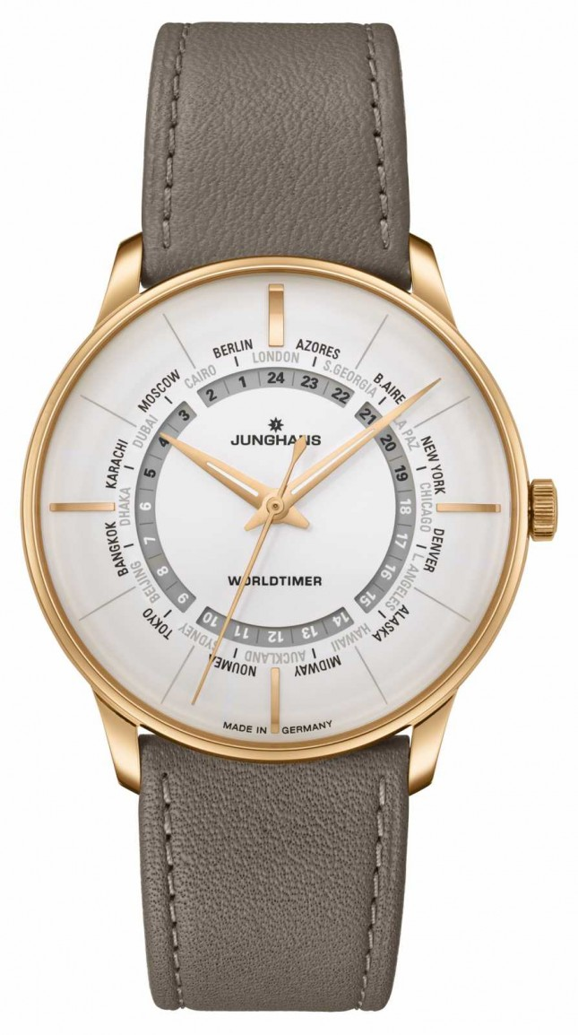Junghans Meister Worldtimer Plexiglass | Brown Leather Strap | Silver Dial 027/5012.00
