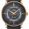 Junghans Meister Worldtimer Plexiglass   Grey Leather Strap   Black Dial 027/5013.00