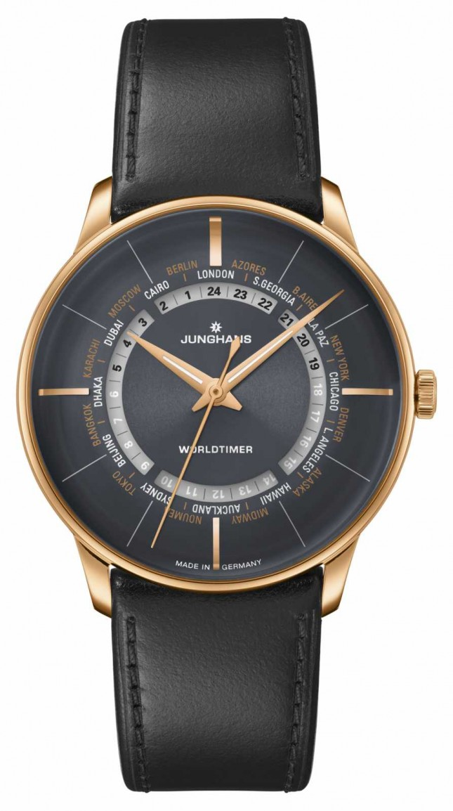 Junghans Meister Worldtimer Plexiglass | Grey Leather Strap | Black Dial 027/5013.00