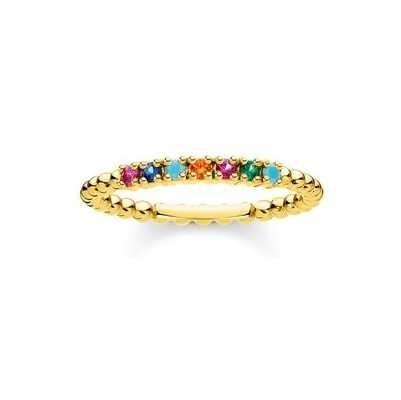Thomas Sabo Gold Coulourful Stone Dot Ring EU 56 (UK O 1/2 – P) TR2323-488-7-56