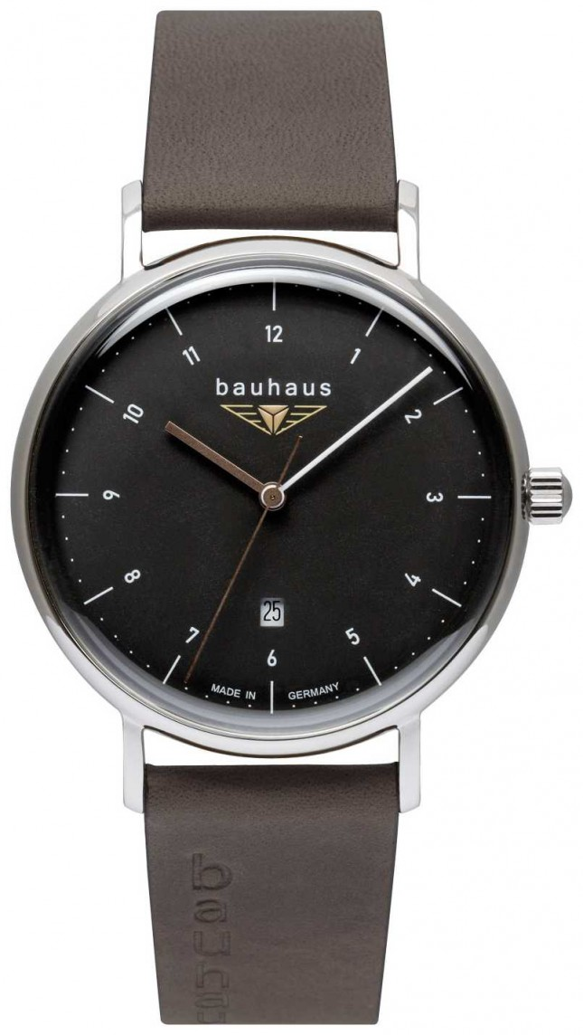 Bauhaus Men's Grey Italian Leather Strap | Black Dial 2142-2