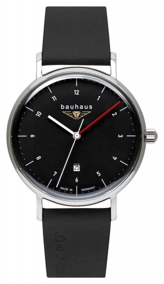 Bauhaus Men's Black Italian Leather Strap | Black Dial 2140-2