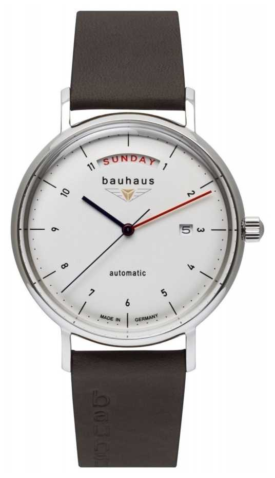 Bauhaus Men's Brown Italian Leather Strap | White Dial | Automatic | Day/Date 2162-1