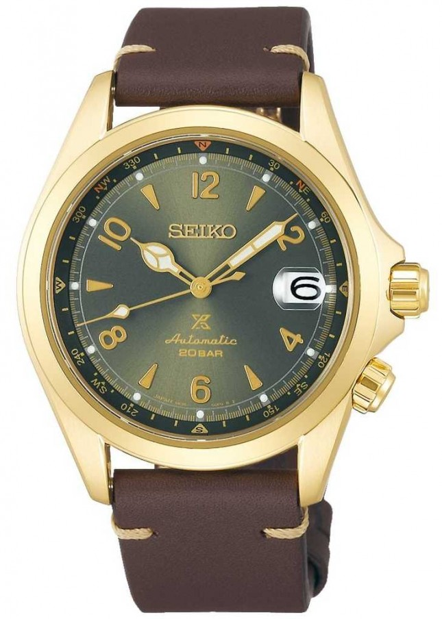 Seiko Men's Alpinist Sunbeam Forest | Brown Leather Strap SPB210J1