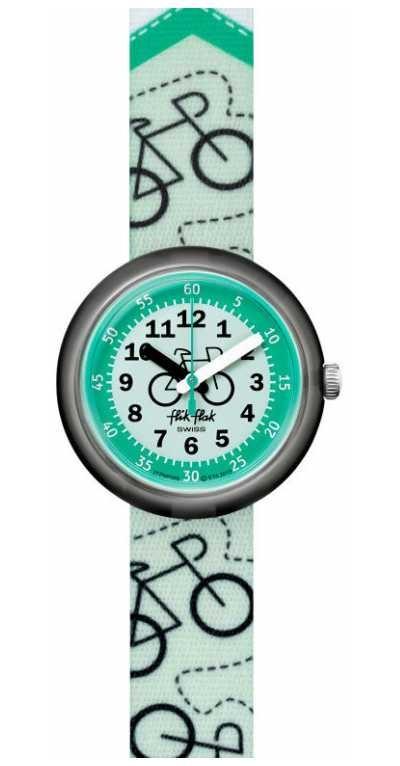 Flik Flak BIKEWAY | Green Bike Print Fabric Strap | Green Dial FPNP066