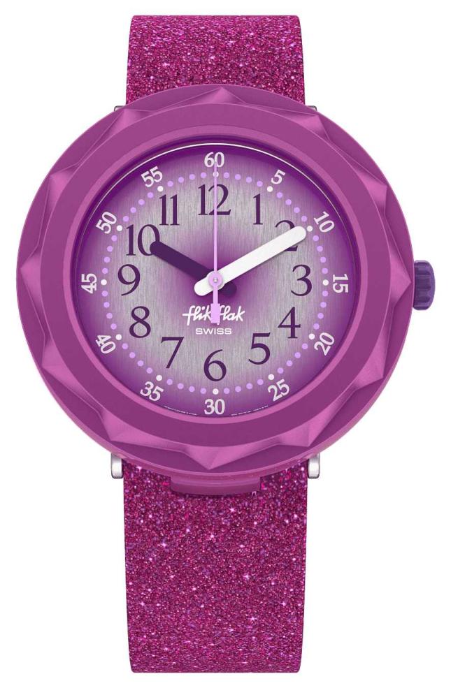 Flik Flak PURPLEAXUS | Purple Glitter Silicone Strap | Purple Dial FCSP106