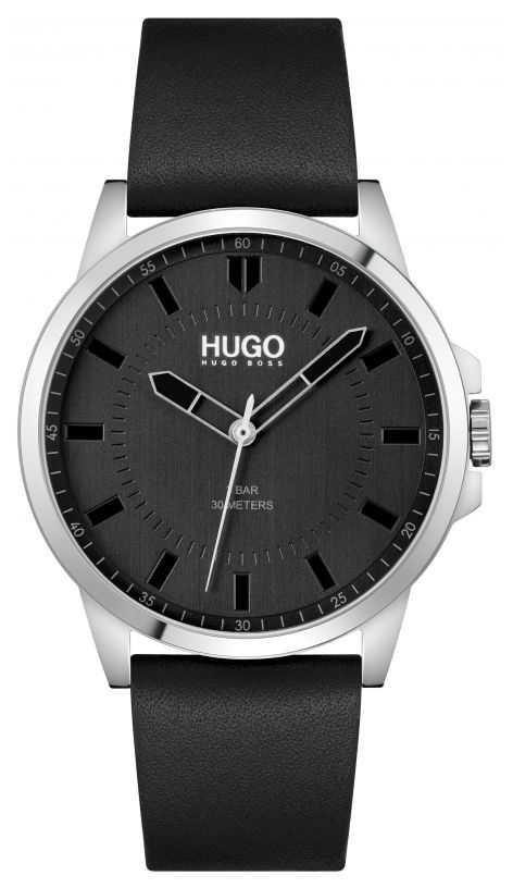 HUGO #First | Men's Black Leather Strap | Black Dial 1530188