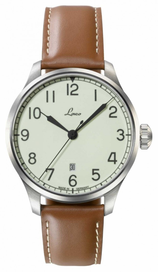 Laco | Valencia 42 | Automatic Navy Watch | Tan Calf Leather | 861651.2