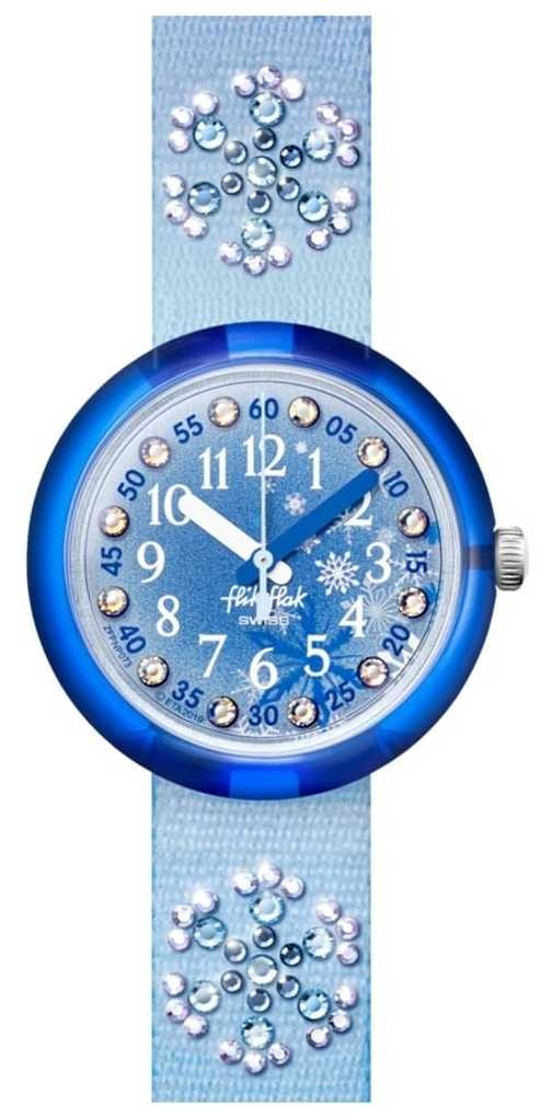 Flik Flak FROZILICIOUS | Blue Crystal Set Fabric Strap | Blue Dial FPNP073