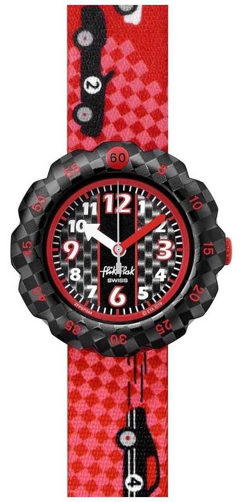 Flik Flak 3 2 1 GO! | Red Race Car Print Fabric Strap | Black Dial FPSP044