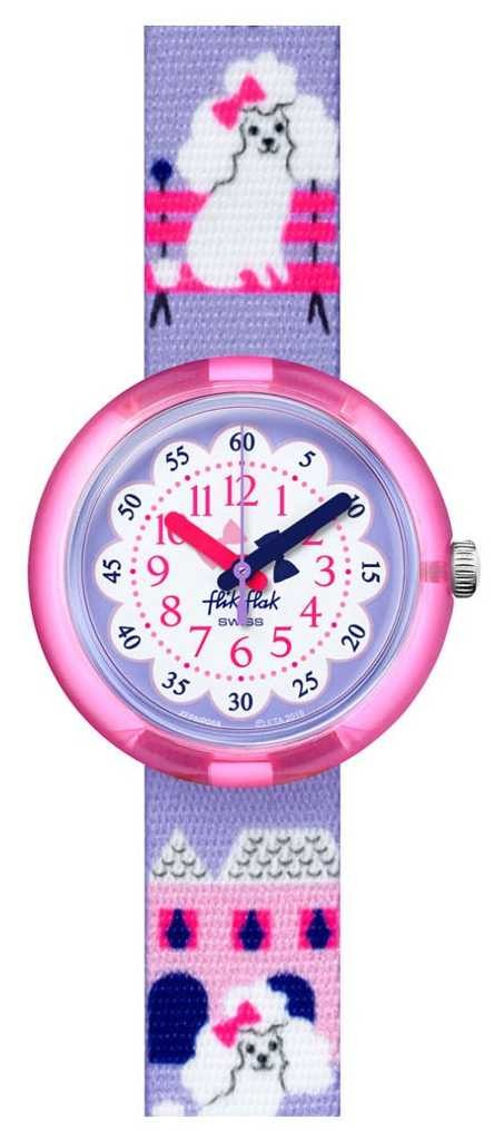 Flik Flak MISS POODLE | Purple Poodle Print Fabric Strap | White/Purple Dial FPNP068