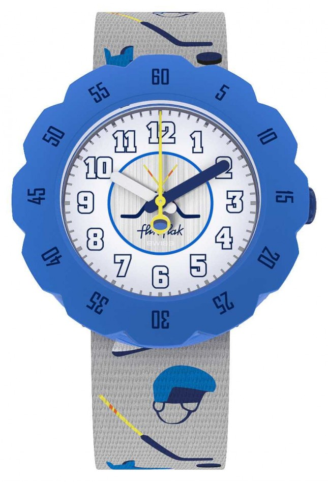 Flik Flak PUCK IT | Grey Hockey Print Fabric Strap | White Dial FPSP046