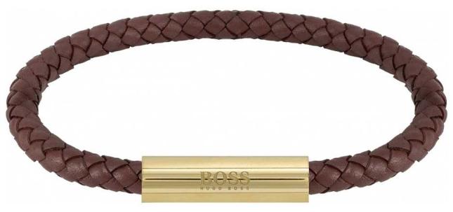 BOSS Jewellery Men's Braided Leather Brown Bracelet 1580151