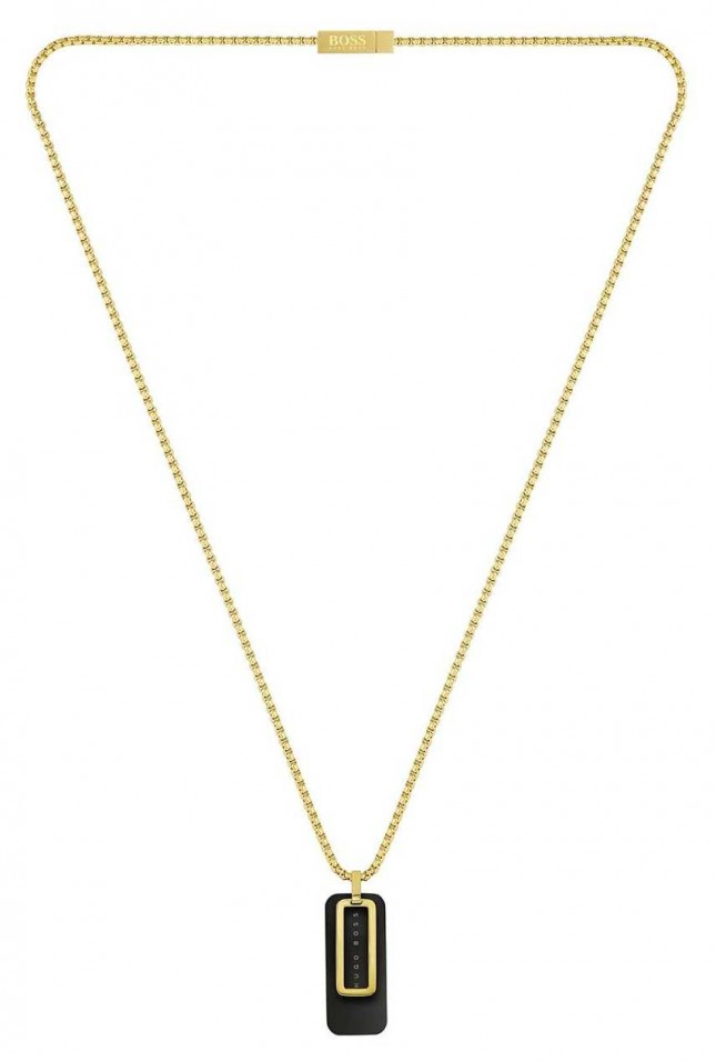 BOSS Jewellery Dual | Men's Gold Plated Dog Tag Necklace 1580155