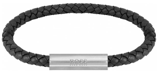 BOSS Jewellery Men's Braided Leather Black Bracelet 1580152