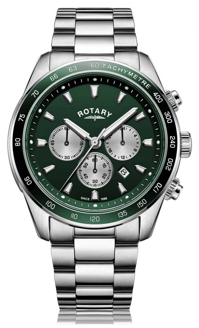 Rotary Mens | Henley | Chronograph | Green Dial | Stainless Steel Bracelet GB05109/24