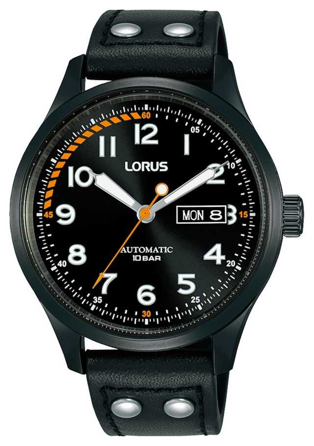 Lorus Mens | Automatic | Black Dial | Black Leather Strap RL461AX9