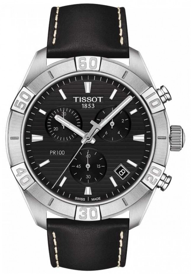 Tissot PR100 Sport | Chronograph | Black Dial | Black Leather Strap T1016171605100