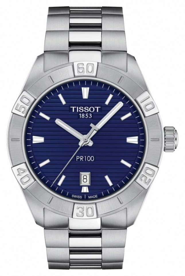 Tissot PR100 Sport   Blue Dial   Stainless Steel Bracelet T1016101104100