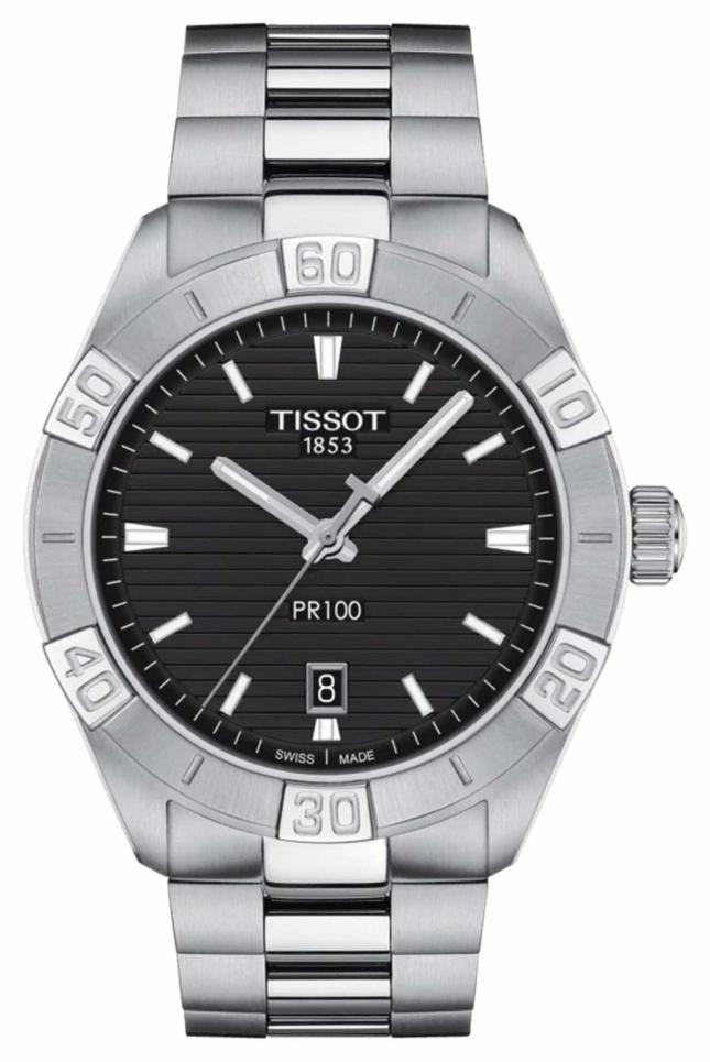 Tissot PR100 Sport   Black Dial   Stainless Steel Bracelet T1016101105100