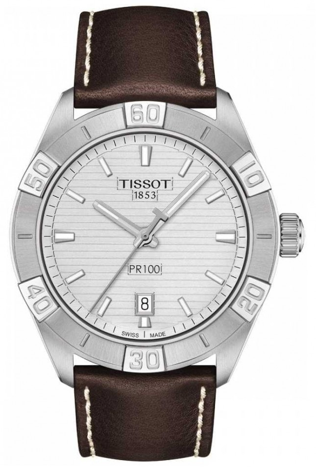 Tissot PR100 Sport   Silver Dial   Brown Leather Strap T1016101603100