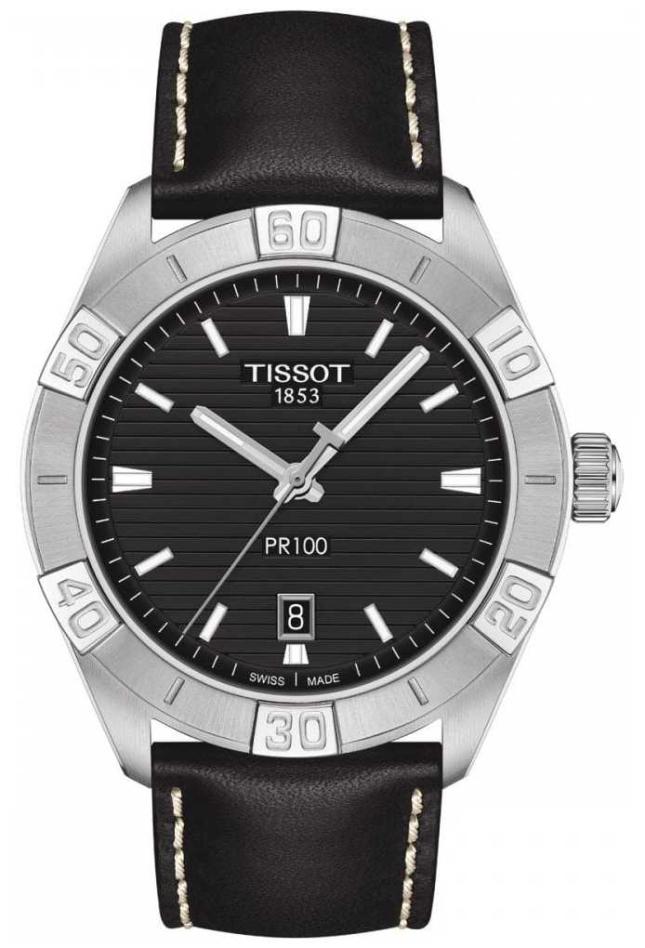 Tissot PR100 Sport   Black Dial   Black Leather Strap T1016101605100