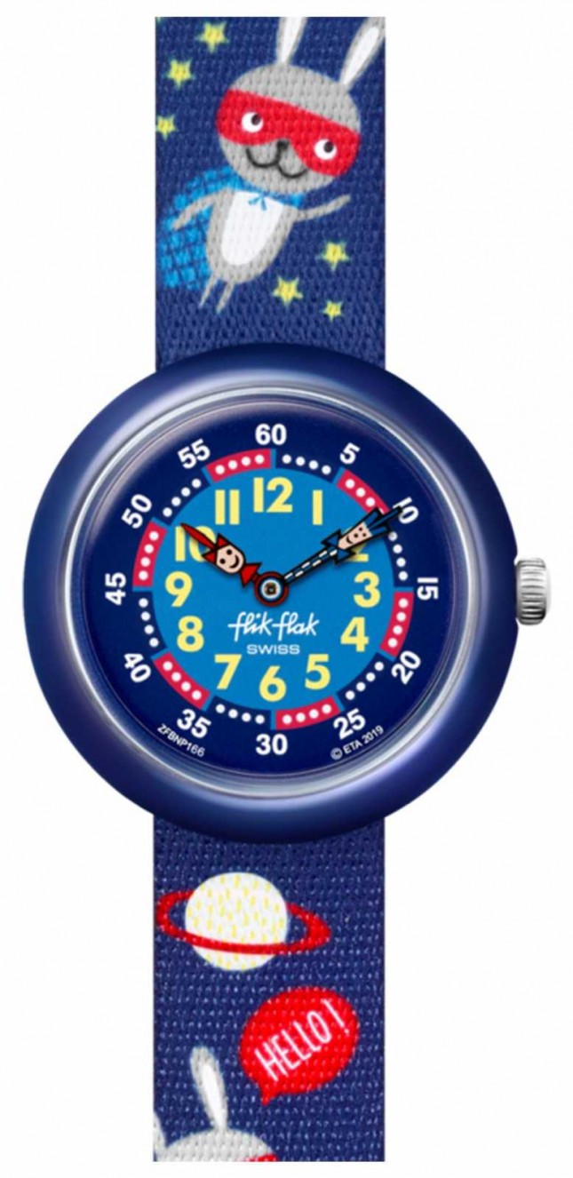 Flik Flak SUPER HOPPER | Blue Space Print Fabric Strap | Blue Dial FBNP166
