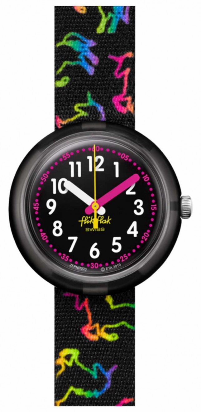 Flik Flak DISCO UNICORN | Multicoloured Unicorn Print Black Fabric Strap | Black Dial FPNP070