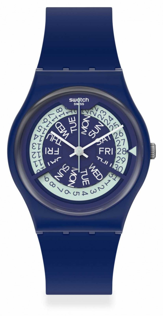 Swatch N-IGMA NAVY | Navy Silicone Strap | Blue Dial GN727