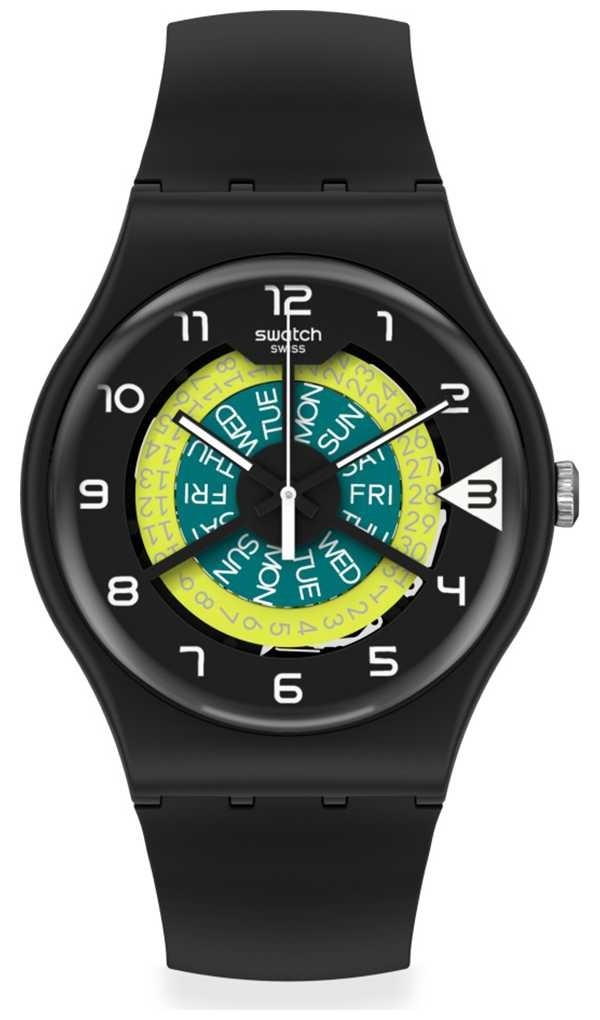 Swatch KEEP TURNING | Black Silicone Strap | Two-Tone Dial SUOB732