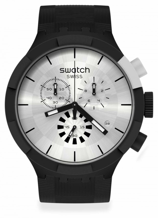 Swatch CHEQUERED SILVER | Black Silicone Strap | Silver Dial SB02B404