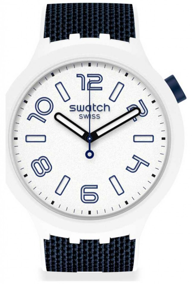 Swatch DEEP SNOW | Big Bold | Blue Silicone Strap | White Dial SO27W102