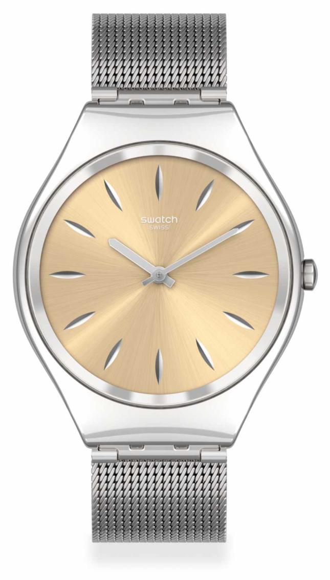 Swatch SKINGOLDENBLINK | Silver Steel Mesh Bracelet | Gold Dial SYXS133M