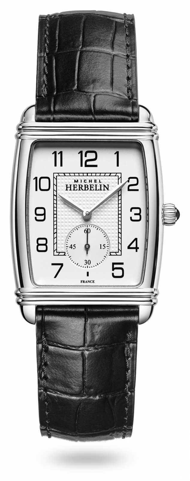 Michel Herbelin Womens | Art Déco | Silver Dial | Black Leather Strap 10638/22