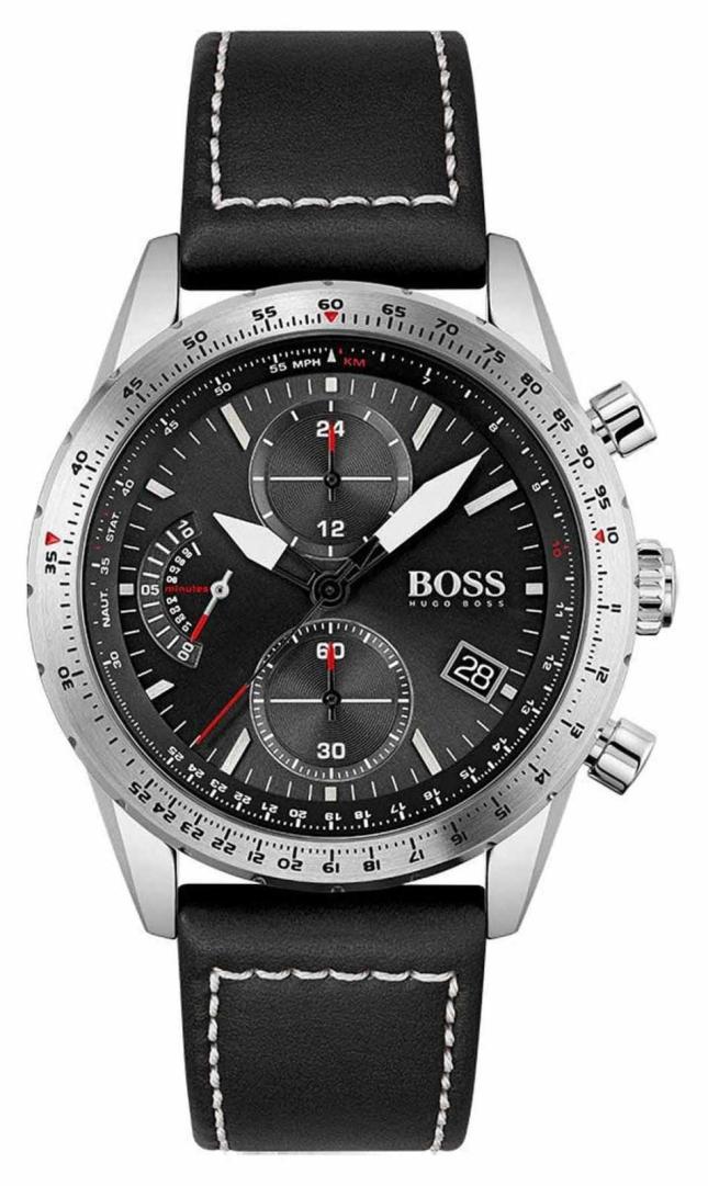 BOSS | Pilot Edition | Men's | Black Leather Strap | Black Dial | 1513853