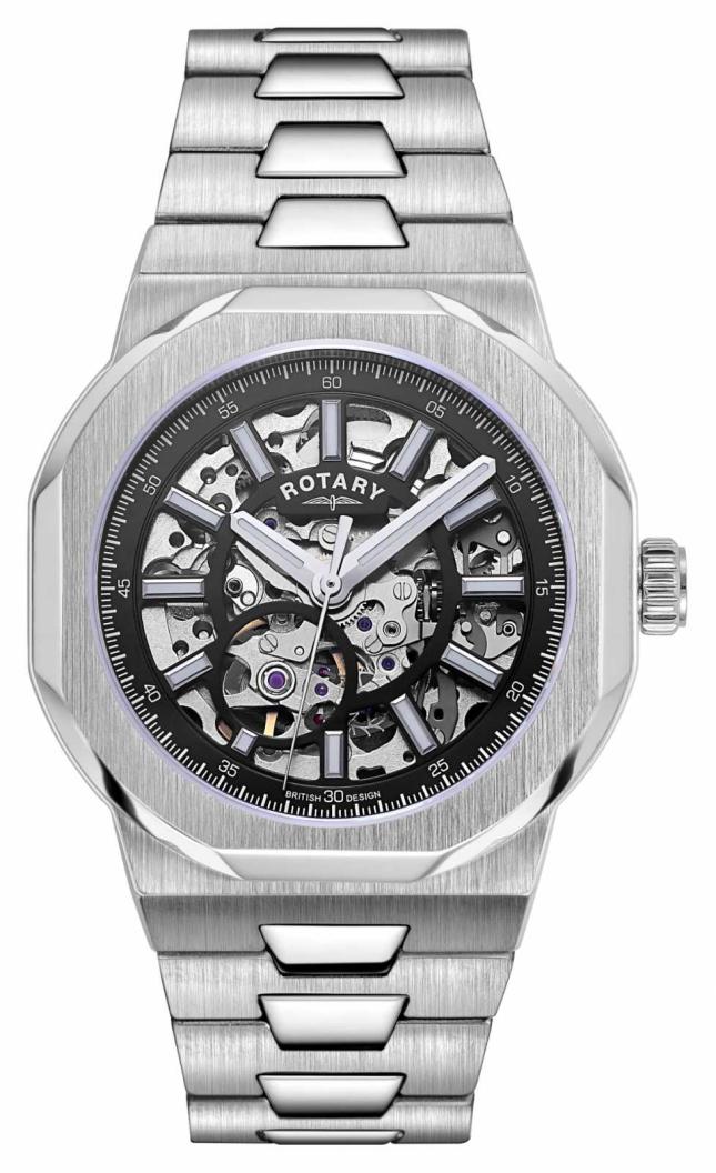 Rotary Mens   Regent   Automatic   Black Skeleton Dial   Stainless Steel Bracelet GB05415/04