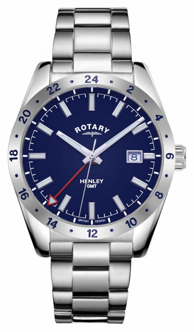 Rotary Mens | Henley | GMT | Blue Dial | Stainless Steel Bracelet GB05176/05