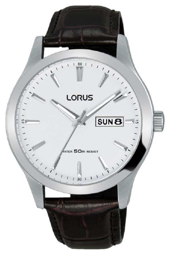 Lorus Mens | White Dial | Brown Leather Strap RXN29DX9