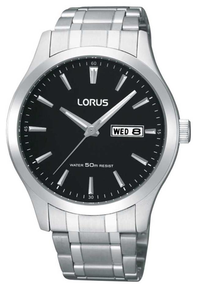 Lorus Mens | Black Dial | Stainless Steel Bracelet RXN23DX9