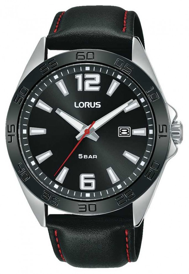 Lorus Mens | Black Dial | Black Leather Strap RH915NX9