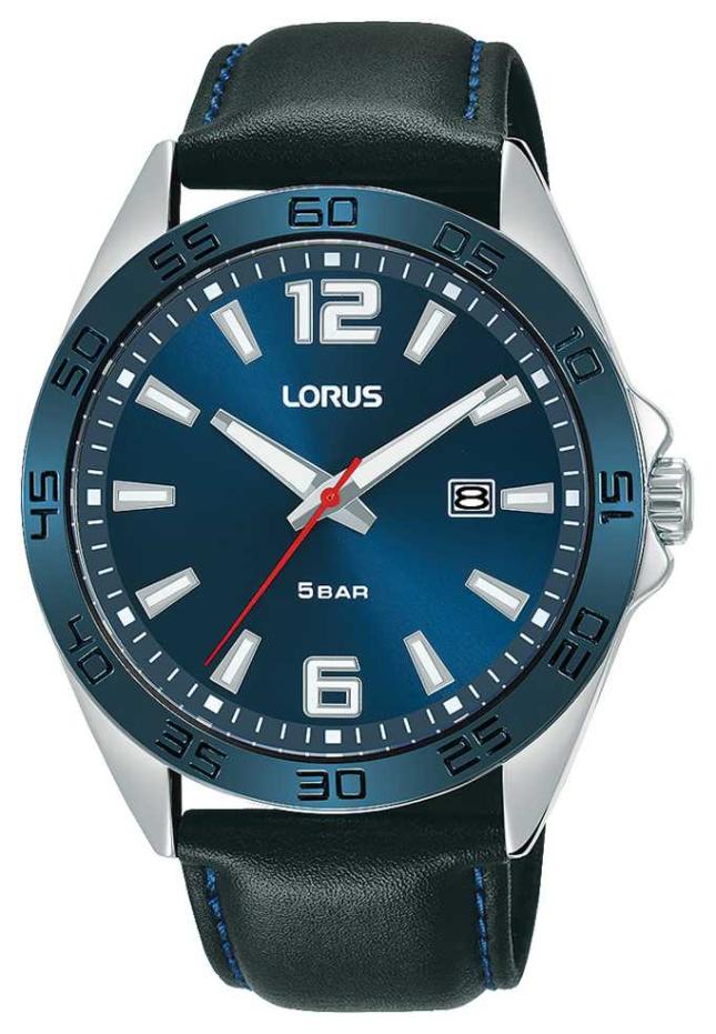 Lorus Mens | Blue Dial | Black Leather Strap RH917NX9