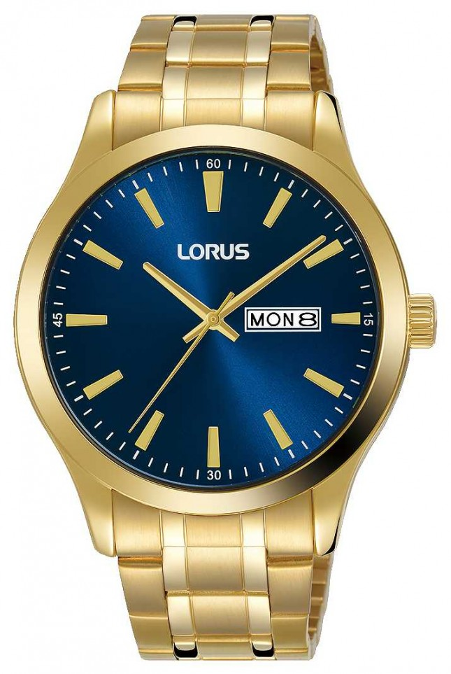 Lorus Mens | Blue Dial | Gold Plated Steel Bracelet RH340AX9