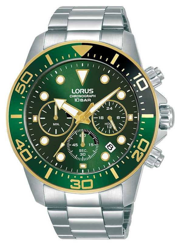 Lorus Mens | Chronograph | Green Dial | Stainless Steel Bracelet RT340JX9