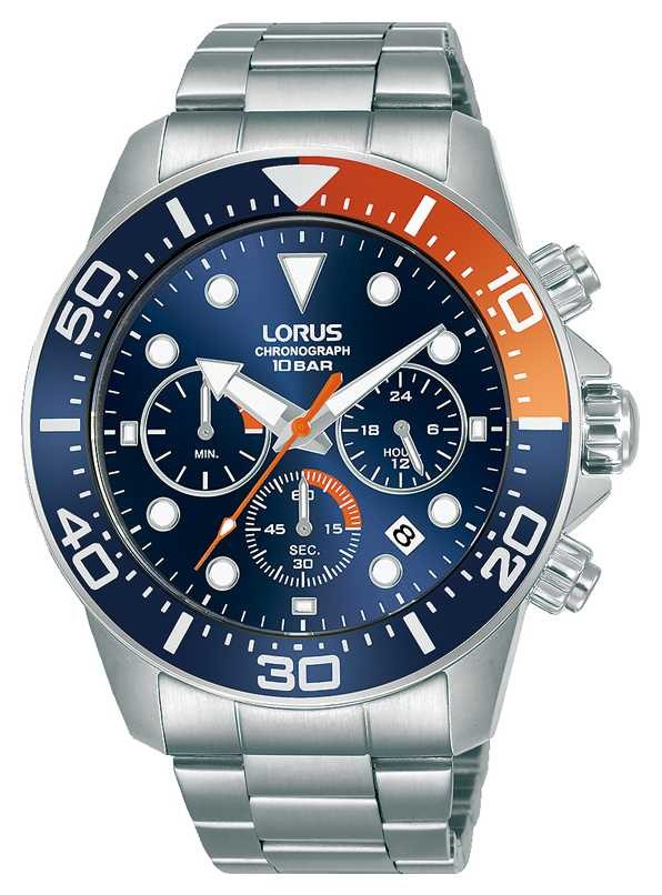 Lorus Mens | Chronograph | Blue Dial | Stainless Steel Bracelet RT345JX9