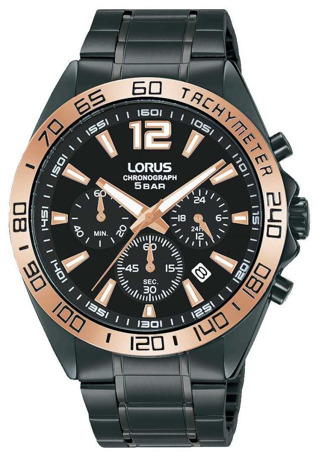 Lorus Mens | Chronograph | Black Dial | Black IP Steel Bracelet RT336JX9