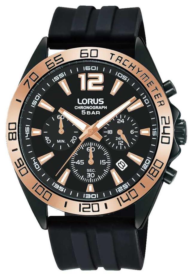 Lorus Mens | Chronograph | Black Dial | Black Silicone Strap RT338JX9